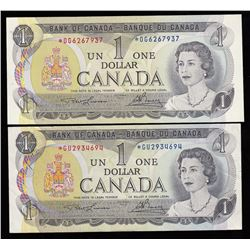 Bank of Canada $1, 1973 - Lot of Two Replacement Notes