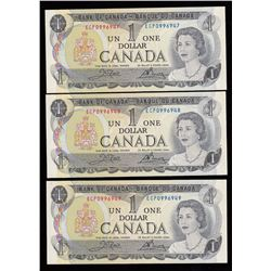 Bank of Canada $1, 1973 - Lot of Three Consecutive Notes