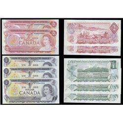Bank of Canada $1 & $2, 1973 - Consecutive Notes