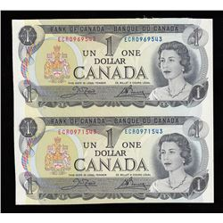 Bank of Canada $1, 1973 - Uncut Pair