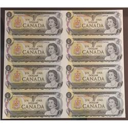 Bank of Canada $1, 1973 - Uncut sheet of 8 Replacement Notes