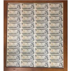 Bank of Canada $1 Notes, 1973 - Uncut Sheet of 40