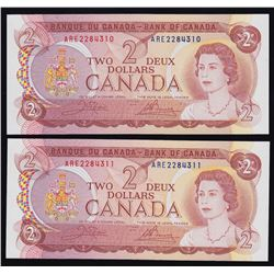 Bank of Canada $2, 1974 -  Lot of Two Consecutive Notes