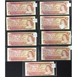 Lot of Nice 1974 Bank of Canada $2 Notes