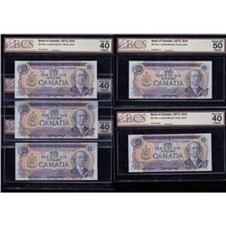 Bank of Canada Certified $10, 1971 - Lot of Five Banknotes