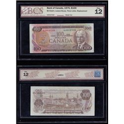 Bank of Canada $100, 1975 - Replacement Note