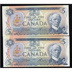 Bank of Canada $5, 1979 - Lot of Two Notes