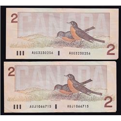 Bank of Canada $2, 1986 - Lot of Two