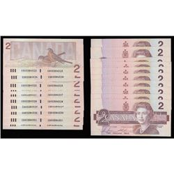 Bank of Canada $2, 1986 - Lot of Ten Consecutive Notes