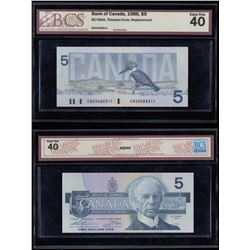 Bank of Canada $5, 1986 - Replacement Note