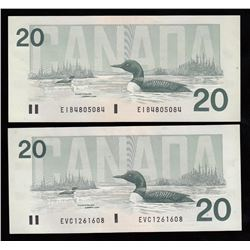 Bank of Canada $20, 1991 - Lot of Two Notes