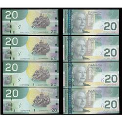 Bank of Canada $20, 2004 Replacement Lot of 4 Notes