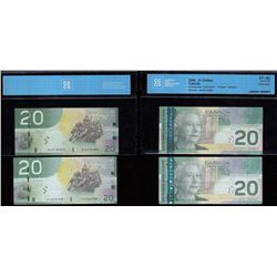 Bank of Canada $20, 2006 - Lot of Two Four Digit Radar Notes
