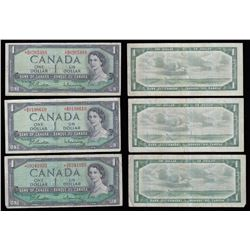 Bank of Canada $1 Replacement Notes, 1954 - Lot of 3