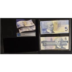 Bank of Canada $5 Lasting Impressions, Set of 2 UNC Notes Identical Serial Numbers