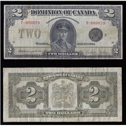 1923 Dominion of Canada $2 - Rare Low Serial Number not often Seen