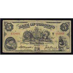 1937 Bank of Toronto $5