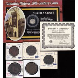 Lot of Five Canadian Tokens & 1910 Silver Five Cents & Stamp Historic Package