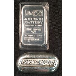 Silver Bullion - 2oz Poured Loaf Style Bar and 1oz JM Bar