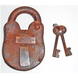 CAST IRON ALCATRAZ DEATH ROW PADLOCK W/ KEYS