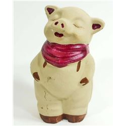 CAST IRON SMILEY PIG FIGURAL STILL BANK