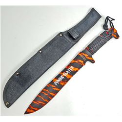 FORCE OF NATURE LARGE ORANGE & BLACK SURVIVAL BOWIE KNIFE W/ SHEATH