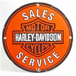 VINTAGE HARLEY DAVIDSON MOTORCYCLE PORCELAIN ADVERTISING SIGN