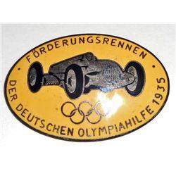 GERMAN NAZI BERLIN SUMMER OLYMPICS RACE CAR BADGE