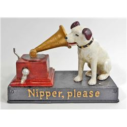 CAST IRON PHONOGRAPH NIPPER DOG MECHANICAL BANK