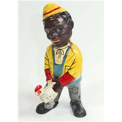 CAST IRON BLACK AMERICANA MAN W/ CHICKEN FIGURAL STILL BANK