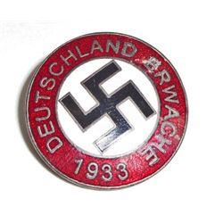 GERMAN NAZI DEUTSCHLAND ERWACHE ENAMELED PARTY BADGE