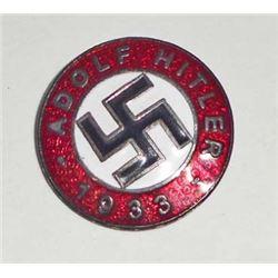 GERMAN NAZI DICTATOR ADOLF HITLER ENAMELED RALLY BADGE