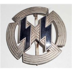 GERMAN NAZI WAFFEN SS SILVER RUNIC & SWASTIKA BREAST BADGE