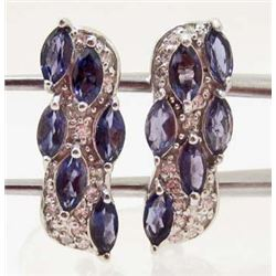 PAIR OF WHITE GOLD OVER STERLING SILVER PURPLE IOLITE EARRINGS