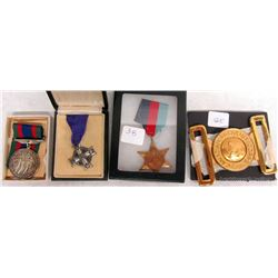 MILITARY MEDALS AND BELT BUCKLE
