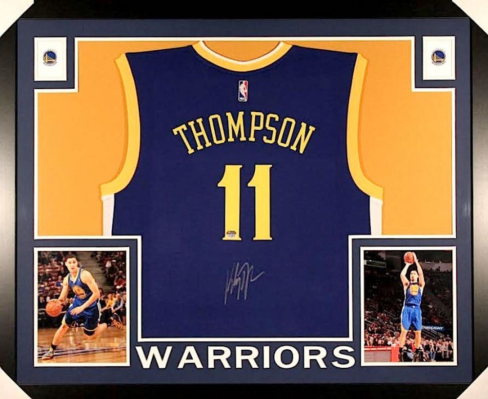 huge selection of b5df1 b345e Klay Thompson Signed Warriors 35x43 Custom Framed Jersey