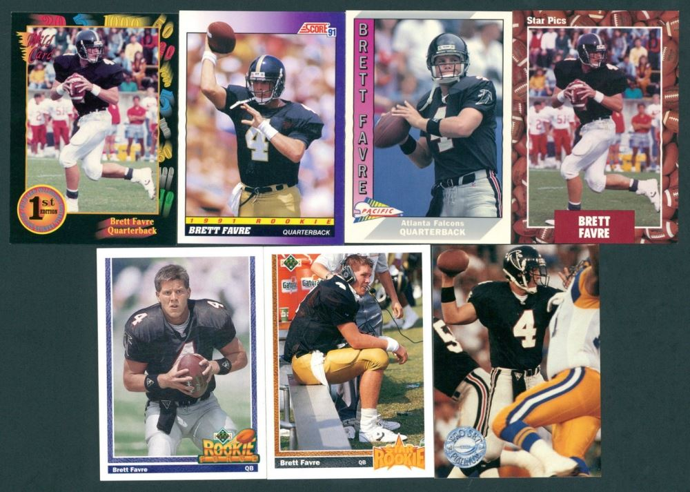 Lot Of 7 Brett Favre Rookie Cards With 1991 Upper Deck 13