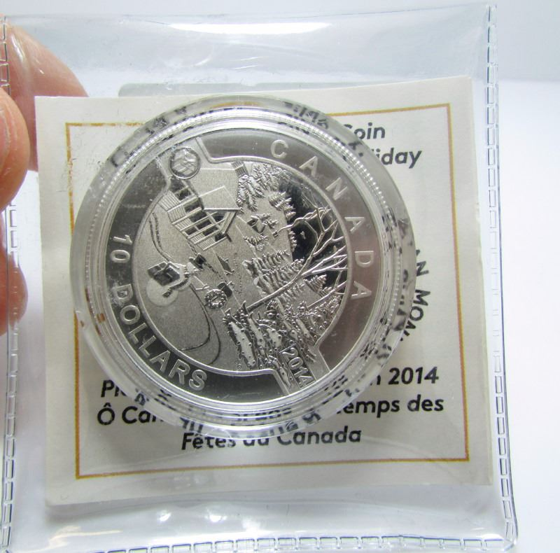2014 $10 O/'Canada Series Holiday Scene No Tax Fine Silver Coin