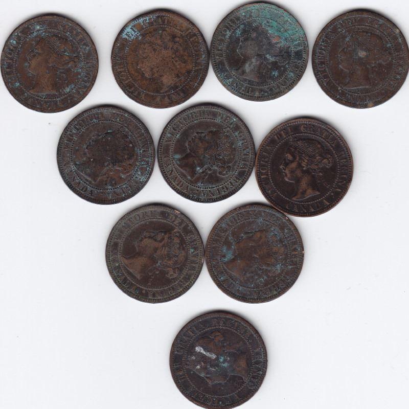 10 Canada Victoria 1-Cent Coins (1876-1901)