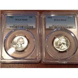 (2) US 25Cent PCGS 1963 MS64 - 1962 MS65