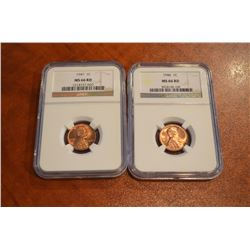 USA;  1946 1¢ & 1947 NGC MS66. RED Lot of 2 coins.