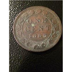 1886 Canada 1 Cent (OBV #1) F-VF
