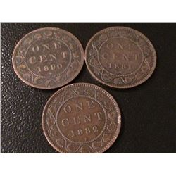 1881H, 1882H, 1890H Canada 1 Cent