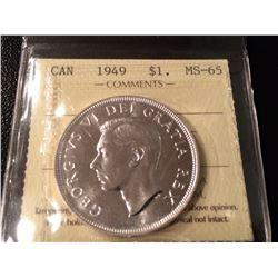 1949 Canada Silver Dollar ICCS - MS65!!
