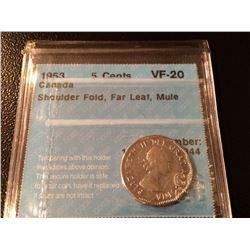 1953 Canada 5 Cent SF, Far Leaf Mule - CCCS VF20