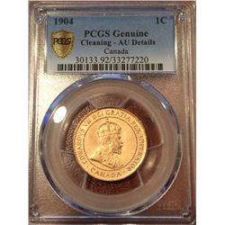 1904 Canada 1 Cent (BN) PCGS Genuine AU Details