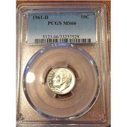 1961-D US 10Cent PCGS MS66