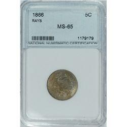 1866 US 5-Cent Rays