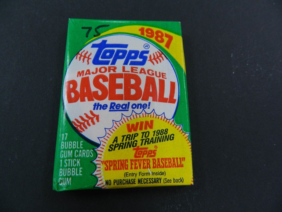 Six 6 Unopened Packs Of 1987 Topps Baseball Cards 17 Cards Plus One Stick Of Bubble Gum