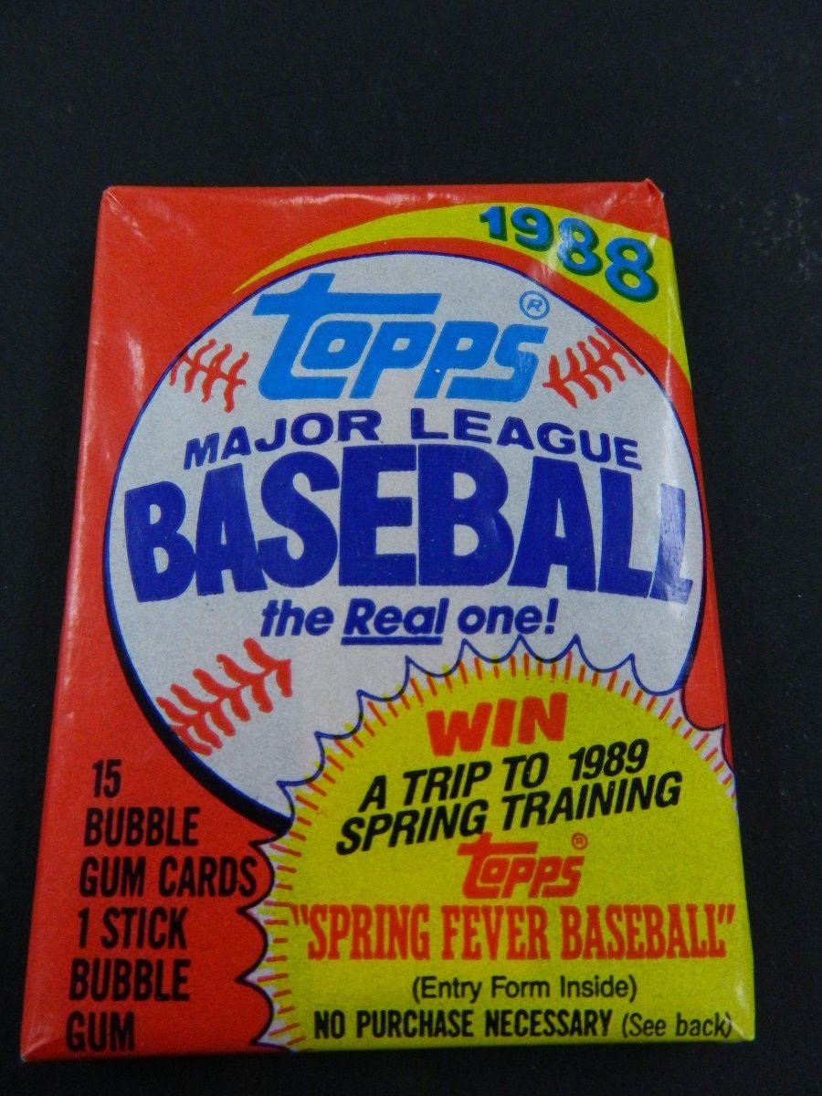 Six 6 Unopened Packs Of 1988 Topps Baseball Cards 15 Cards Plus One Stick Of Bubble Gum